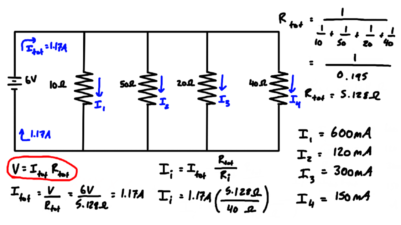 Current Division Example Problem #2: (Parallel Resistors)